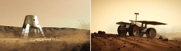 スペースXから購買予定の火星への着陸カプセルと、半自律走行するローバーの写真